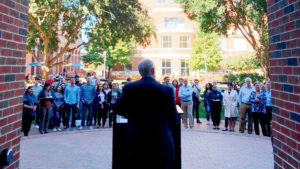 Dean Doug Shackelford speaking to crowd of UNC students and staff